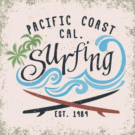 graphics design: Surfing t-shirt graphic design. surfing grunge print stamp. California surfers wear typography emblem. Creative design. Vector
