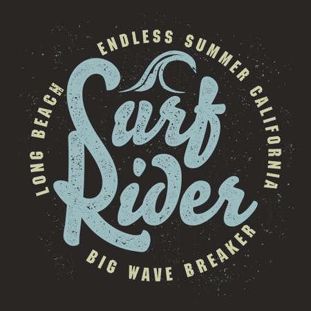 Surfing t-shirt graphic design. surfing grunge print stamp. California surfers wear typography emblem. Creative design. Vector
