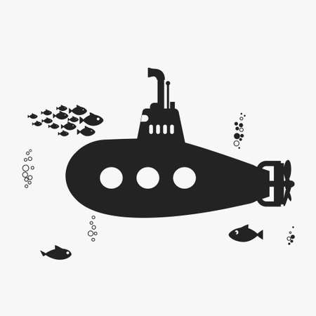Submarine with periscope, underwater fishes and bubbles. Black color silhouette Flat design. Vector bathyscaphe Illustration