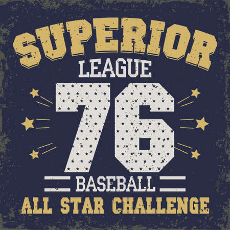 sport wear: Baseball t-shirt graphic design. All Stars Championship typography emblem Sport wear tshirt stamp graphics, vintage tee print, athletic apparel design - vector Illustration