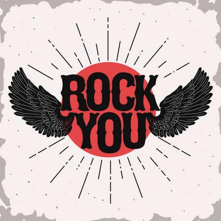 Rock music print, rock-wings hipster vintage label, graphic design with grunge effect, rock-music tee print stamp design. t-shirt print lettering artwork