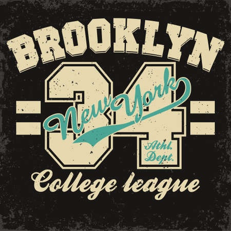 sport wear: New York Brooklyn Sport wear typography emblem, t-shirt stamp graphics, vintage tee print, athletic apparel design