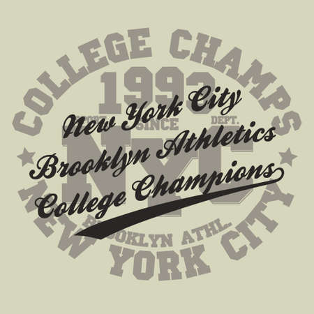 brooklyn: New York Brooklyn Sport wear typography emblem, t-shirt stamp graphics, tee print, athletic apparel design