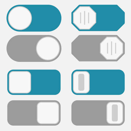 toggle switch: Toggle switch simple icons, on off position button interface trigger set, blue and gray control modern minimal flat design style Illustration