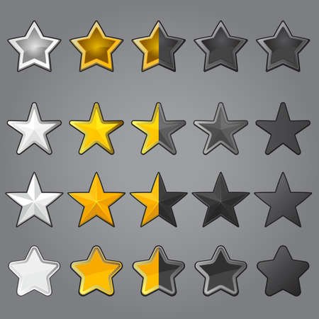 Stars for game interface, gold gray silver and non-active set of funny cartoon web button elements. Vector