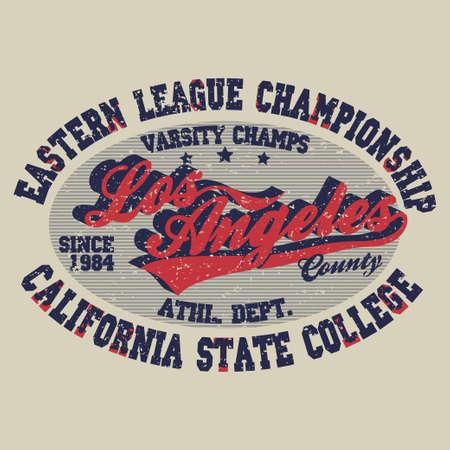 varsity: Sport t-shirt Los Angeles print, vintage style typography emblem, college athletics apparel, varsity jersey stamp, California fashion clothes. Vector