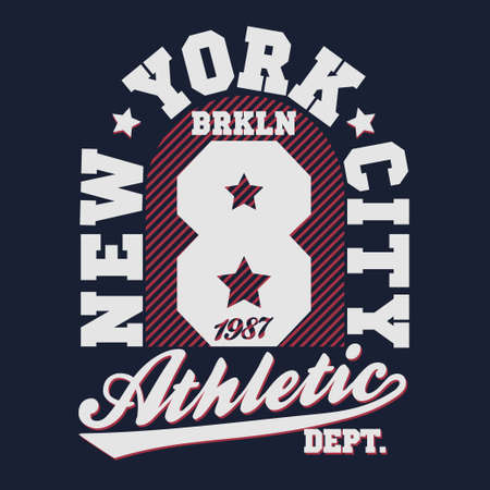 sport wear: New York Brooklyn Sport wear typography emblem, t-shirt stamp graphics, vintage tee print, athletic apparel design graphic print - vector