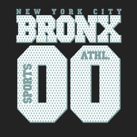 bronx: New York Bronx Sport wear typography emblem, t-shirt stamp graphics, vintage tee print, athletic apparel design Illustration