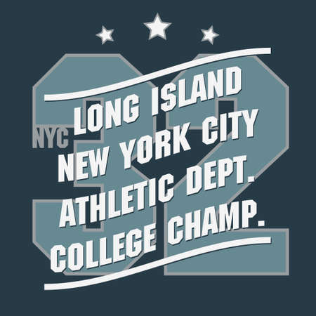 sport wear: New York Sport wear typography emblem, t-shirt stamp graphics, vintage tee print, athletic apparel design fashion clothes. Illustration