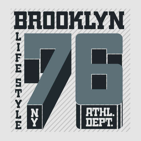 brooklyn: New York Brooklyn Sport wear typography emblem, t-shirt stamp graphics, vintage tee print, athletic apparel design fashion clothes.