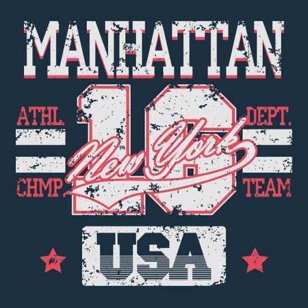 athletic wear: New York Sport wear typography emblem, t-shirt grunge stamp graphics, vintage tee print, athletic apparel design fashion clothes. Illustration