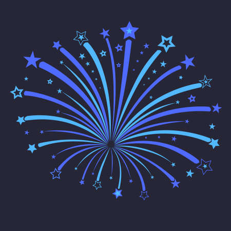 pyrotechnics: Firework with blue stars against night, star burst in the sky, holiday pyrotechnics explosion, anniversary carnival New Year celebration