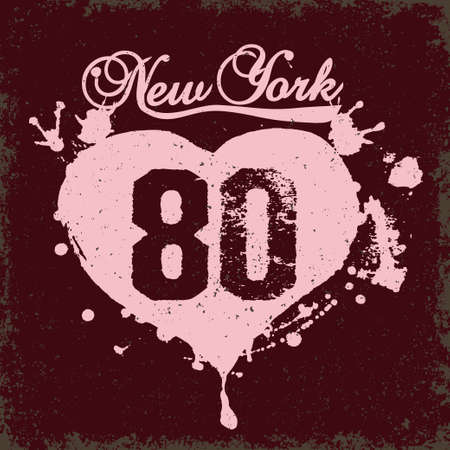 old new york: New York City Typography Graphics, girls T-shirt color vintage Printing Design - NYC original wear, Original grunge Print for sportswear apparel