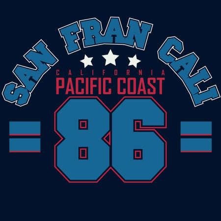 sport clothes: California Sport wear typography emblem, t-shirt San Francisco stamp graphics, vintage tee print, athletic apparel design fashion clothes.