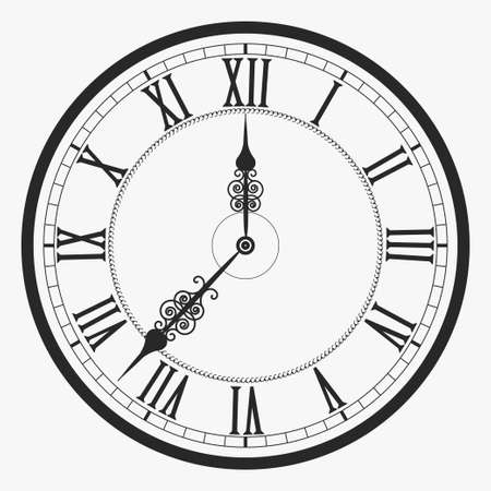 numeral: Black wall clock Roman numeral, old vintage clock-face