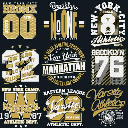 New York Sport wear typography emblem set, t-shirt stamp graphics, vintage tee print, athletic apparel design graphic print. vector