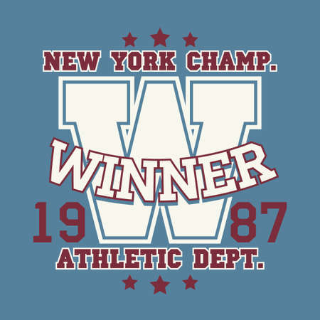 sport wear: New York Sport wear typography emblem, t-shirt stamp graphics, vintage tee print, athletic apparel design graphic print. vector