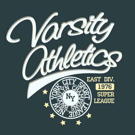 athletic wear: New York Brooklyn Sport wear typography emblem, t-shirt stamp graphics, vintage tee print, athletic apparel design graphic print. vector Illustration