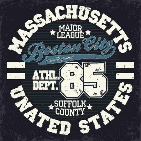 athletic wear: Sport wear typography emblem, Boston t-shirt stamp graphics, vintage tee print, american athletic apparel design graphic print. USA original wear. vector