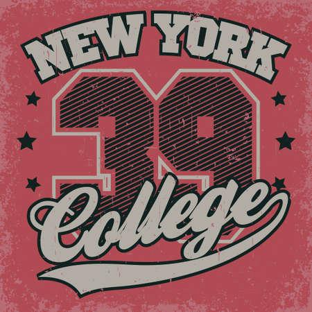 New York college print, Fashion Typography Graphics. Sport T-shirt Design. Vector Illustration