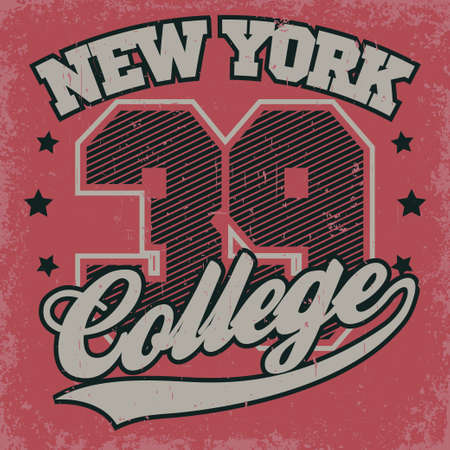 New York college print, Fashion Typography Graphics. Sport T-shirt Design. Vector Ilustracja