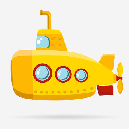 Yellow Submarine with periscope, bathyscaphe cartoon, underwater ship Flat design. Vector Çizim