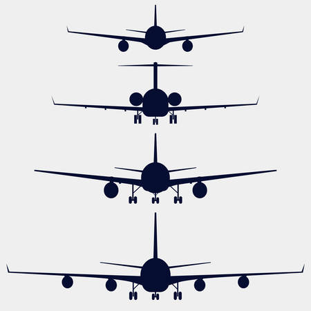 Airplanes silhouette front view, jet aircraft, plane Imagens