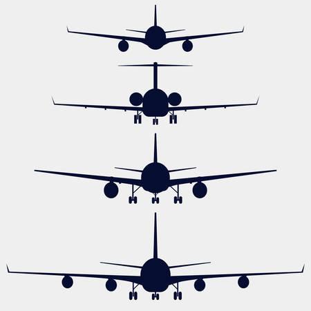 Vliegtuigen silhouet vooraanzicht, straalvliegtuigen, vliegtuig Stockfoto