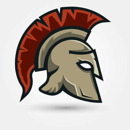 antiquarian: Spartan Helmet silhouette, Greek warrior - Gladiator, legionnaire heroic soldier.