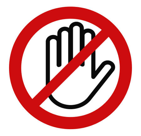 Stop hand, No entry red round sign, Do not touch, Ban circle Illustration