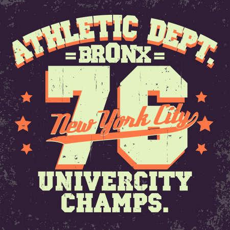 bronx: New York City Typography Graphics, T-shirt Printing Design. NYC original wear stamp, Vintage Print for sportswear apparel. Vector