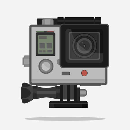 high definition: Camera for active Extreme sports in waterproof case. Ultra HD. 4K, high definition photo video  action cam lens, flat vector