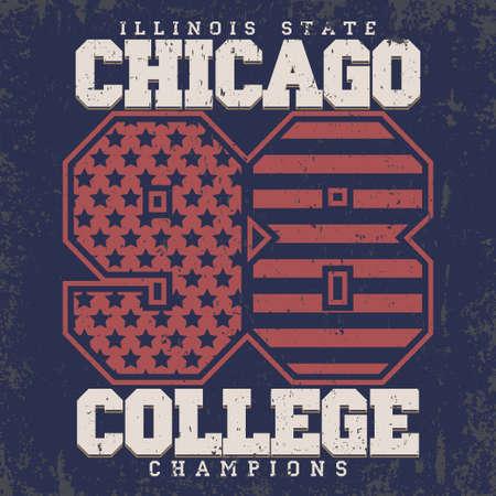 bronx: Chicago Typography Graphics stamp, T-shirt Printing Design, Illinois original wear, Vintage Print for sportswear apparel. Vector Illustration