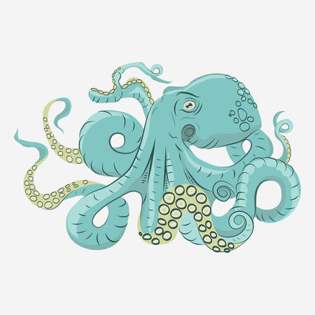 Octopus with curling tentacles swimming underwater, hand drawn vector cartoon
