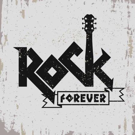 Rockmuziek print, hipster vintage etiket, grafisch ontwerp met grunge effect, rock-muziek tee afdruk stempel design. t-shirt printen belettering artwork