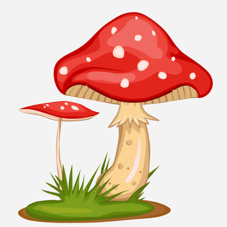 Red Mushroom cartoon, spotted poisonous Amanita with green grass