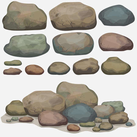 Rock stone set cartoon. Multicolored Stones and rocks in isometric 3d view. Set of different boulders Zdjęcie Seryjne - 60399348