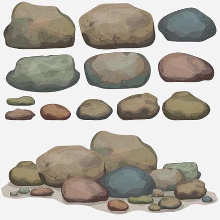 Rots steen set cartoon. Veelkleurige stenen en rotsen in isometrische 3D-weergave. Set van verschillende keien Vector Illustratie