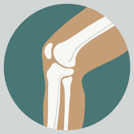 patella: Human knee joint medical icon, emblem for orthopedic clinic