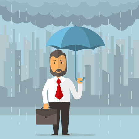 Businessman holding an umbrella. Business protecting and saving for any storm problem will come. Man standing in rain on big city background. Vectot