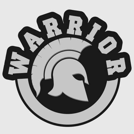 antiquarian: Spartan warrior t-shirt emblem Greek Helmet silhouette print - Gladiator stamp, legionnaire heroic soldier. vector