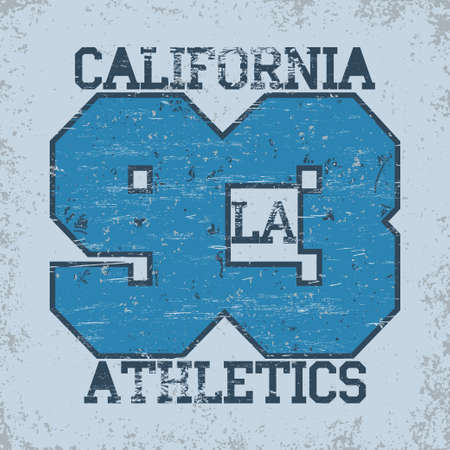 California sport T-shirt grunge design. Los Angeles City Typography Graphics. Vector