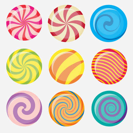 Sweet candy, round caramel lollipop set, colored candies collection without wrapper, sugar sweet-stuff vector food, design element for christmas