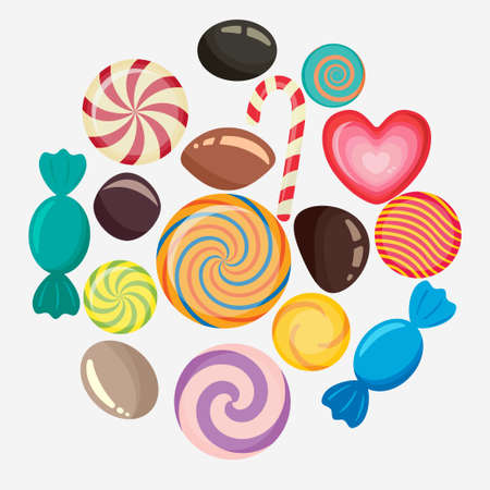 Sweet candy, caramel lollipop set, colored candies collection without wrapper, sugar sweet-stuff vector food, design element for christmas Illustration