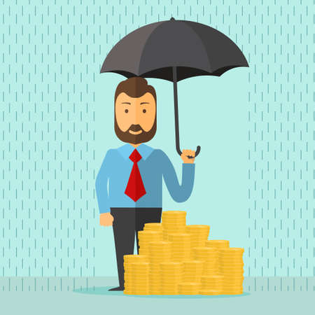 safe investment: businessman with umbrella in the rain protects a stacks of golden coins, safe investment, saving money, cartoon flat design vector