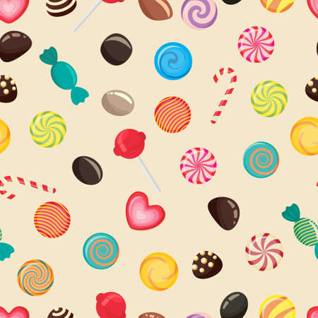 sweetstuff: Sweet candy seamless pattern, caramel lollipop texture, colored candies without wrapper, sugar sweet-stuff vector food, design element for christmas