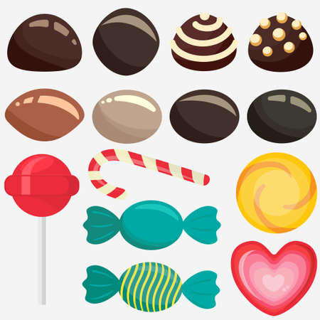 Sweet candy, caramel lollipop set, colored chocolate candies collection with wrapper, sugar sweet-stuff vector food, design element for christmas Ilustração