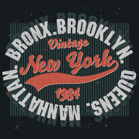 athletic wear: New York Brooklyn Sport wear typography emblem, t-shirt stamp graphics, vintage tee print, athletic apparel design