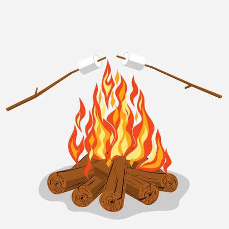 woodpile: Bonfire with marshmallow - camping, burning woodpile. Vector