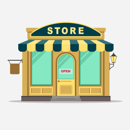 front of house: Street shop building facade, small store front, shopping design detailed illustration. Vector